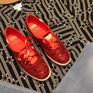 Special Edition Keds + Kate Spade ruby red glitter